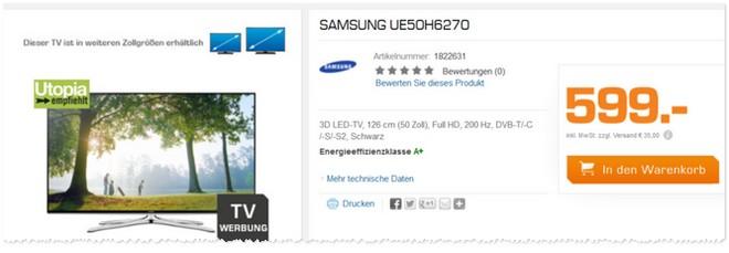 Samsung UE50H6270 aus der Saturn TV-Werbung