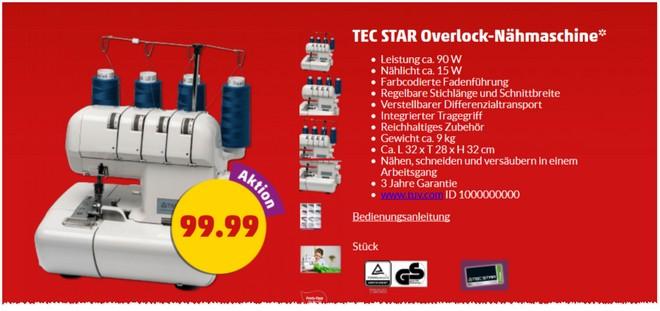 Tec Star Overlock Nähmaschine