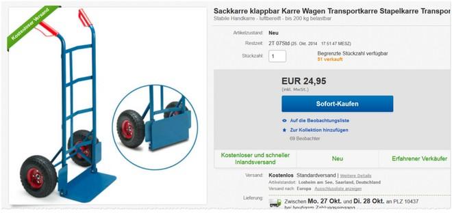 Transport-Karre bei eBay