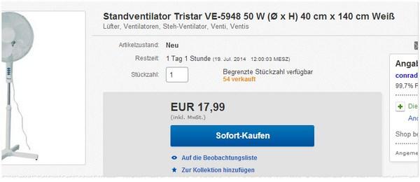 Tristar Standventilator kaufen