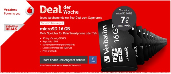 Verbatim Micro SD 16 GB als Vodafone Deal der Woche