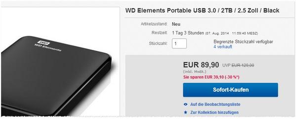 Western Digital Elements Portable mit 2 TB Speicher kaufen