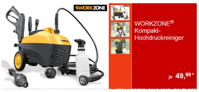 Workzone Kompakt-Hochdruckreiniger bei ALDI Süd