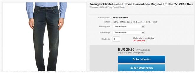 Wrangler Outlet Jeans Preis
