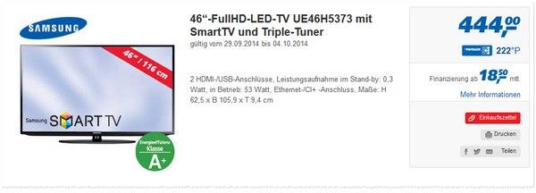 Samsung UE46H5373 bei Real für 444 € ab 29.9.2014