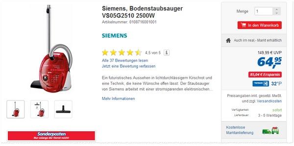 Siemens VS06G2510 als Real Angebot ab 1.9.2014