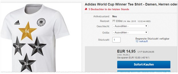 Adidas 4-Sterne-Shirt Weltmeister