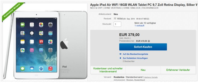 ipad air ohne vertrag 16 gb g nstig f r unter 290. Black Bedroom Furniture Sets. Home Design Ideas
