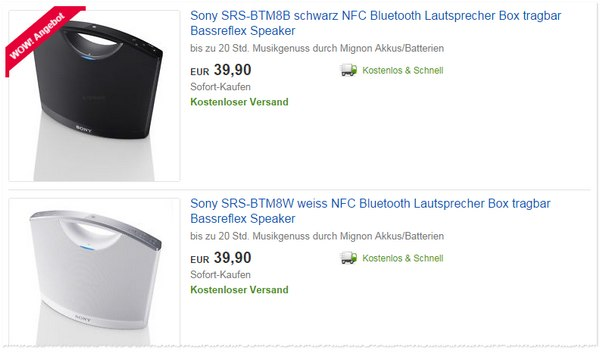Bluetooth Lautsprecher Sony SRSBTM8B