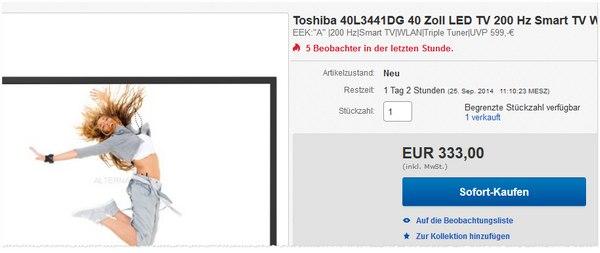 Fernseher Toshiba 40L3441DG
