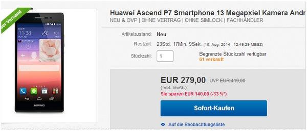 Huawei Ascend P7 ohne Vertrag kaufen