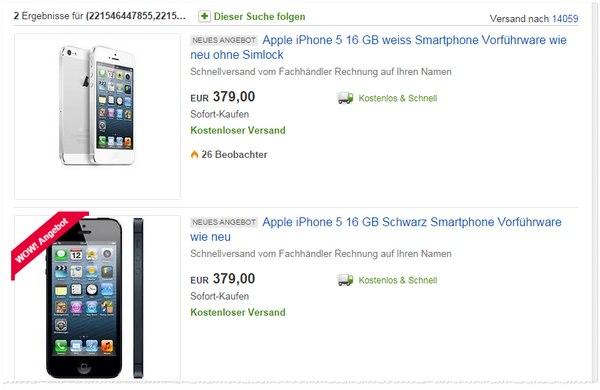 iPhone 5 ohne Vertrag als Vorführware