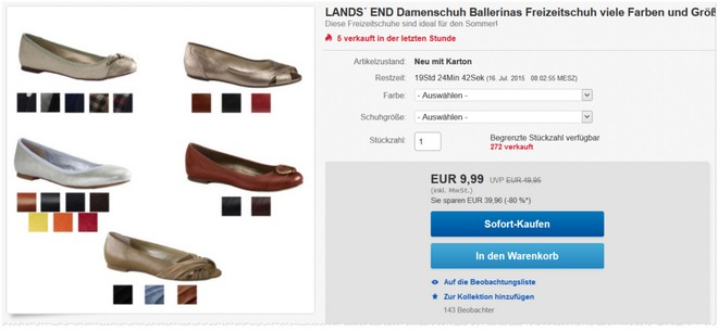 Lands' End Ballerinas für 10 Euro