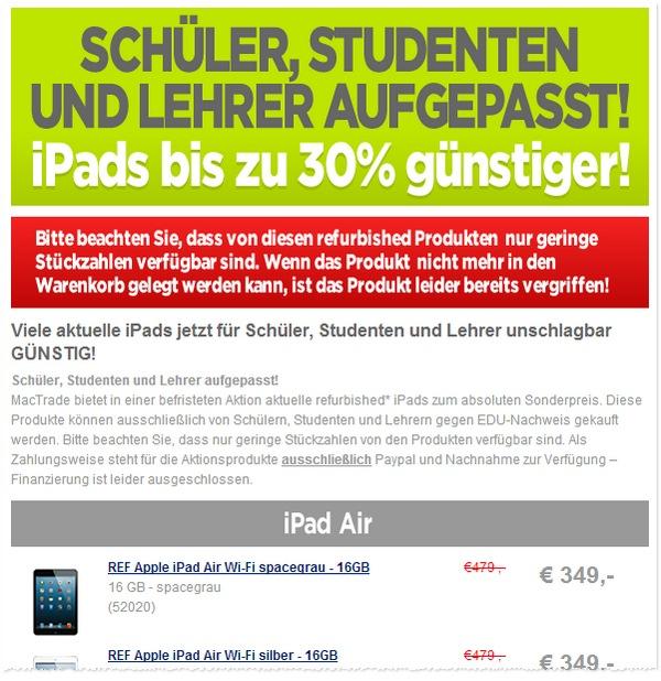Mactrade Apple refurbished Angebote