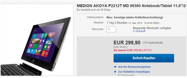 Medion Akoya P2212t ALDI Convertible