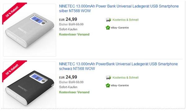 Ninetec Power Bank NT 568 Angebot für 24,99 €