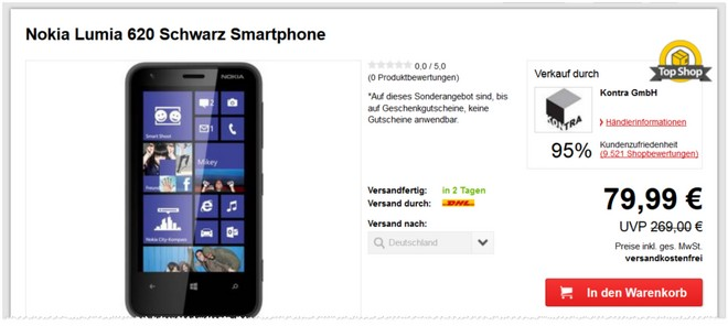 Nokia Lumia 620 ohne Vertrag gebraucht