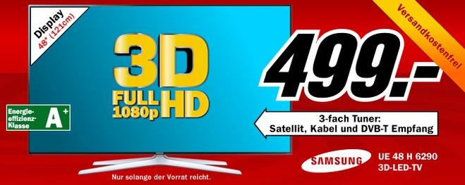 Samsung UE48H6290 als Media Markt Schnapp des Tages vom 8.8.2014