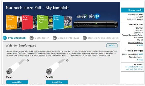 Sky Komplett Angebot für 34,90 €