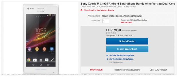 Sony Xperia M ohne Vertrag als B-Ware