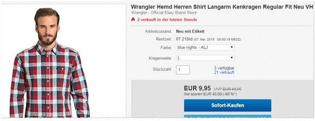 Wrangler Hemden für 9,95 €