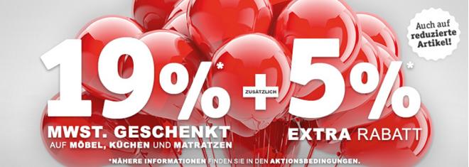 XXXL Shop Mehrwertsteuer geschenkt Aktion
