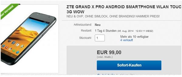 ZTE Grand X Pro ohne Vertrag kaufen