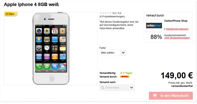 Apple iPhone 4 Preis ohne Vertrag B-Ware