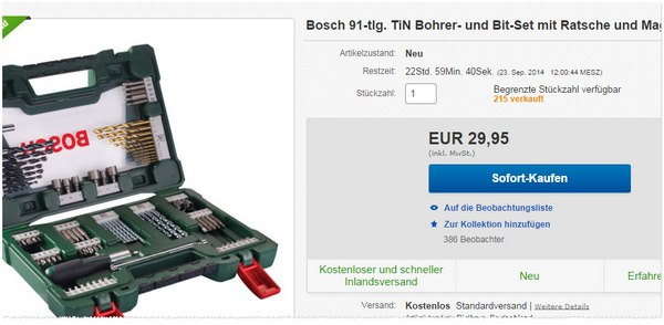 Bosch mit 91-teiligem TiN-Bohrer-Set