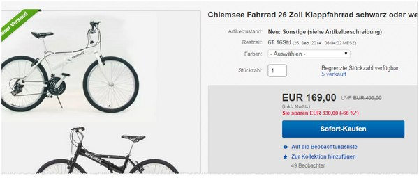 Chiemsee Faltrad-Mountainbike