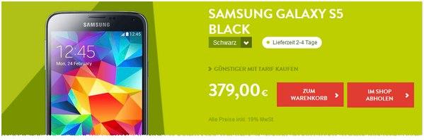 Galaxy S5 bei BASE für 379 €