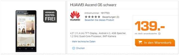 Huawei Ascend G6 als Saturn-Angebot