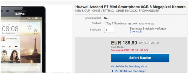 Huawei Ascend P7 mini Angebot