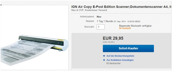 ION Air Copy E-Post-Edition Scanner