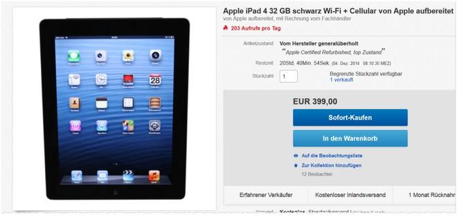 iPad 4 als Apple Refurbished Gerät