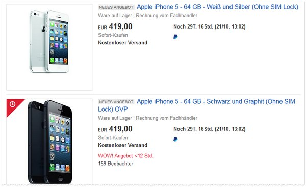 iPhone 5S (64GB) generalüberholt für 419 €