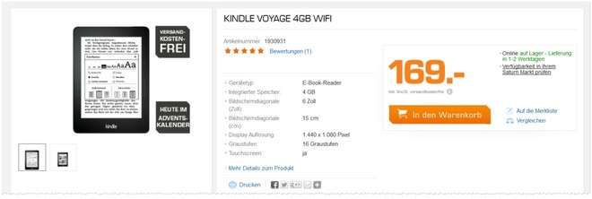 Kindle Voyage Angebot