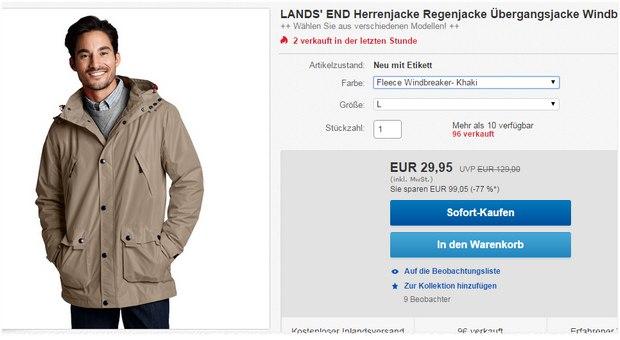 Lands' End Windbreaker: Herren-Übergangsjacken für 29,95 € (UVP: 129 €)