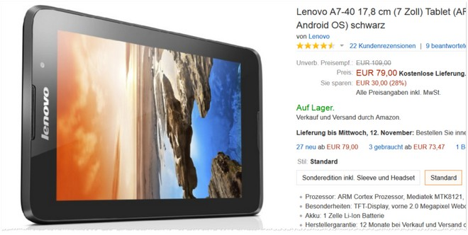 Lenovo IdeaTab A7-40 Tablet Angebot