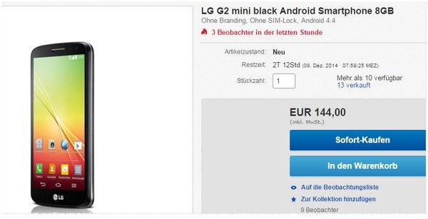 LG G2 mini ohne Vertrag bei Cyberport