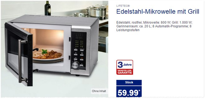 lifetec edelstahl mikrowelle ab 30 bei aldi nord. Black Bedroom Furniture Sets. Home Design Ideas