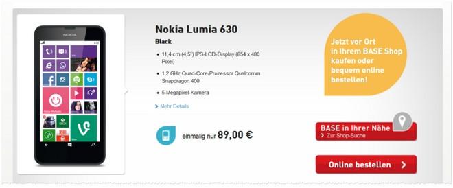 Lumia 630 ohne Vertrag BASE