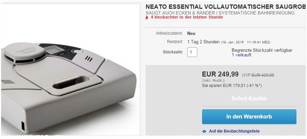 Neato Essential Robotersauger für 249,99 €