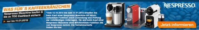 Nespresso Aktion 70 Euro Cashback