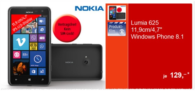 Nokia Lumia 625 ohne Vertrag ALDI