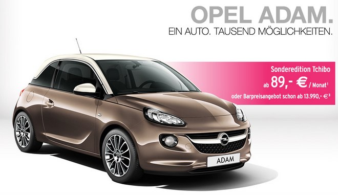 opel adam leasing bei tchibo f r 89. Black Bedroom Furniture Sets. Home Design Ideas