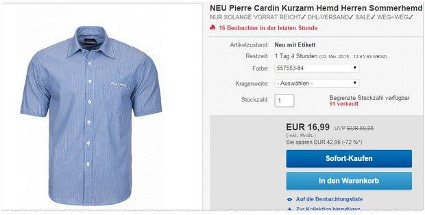 Pierre Cardin Kurzarm-Hemden