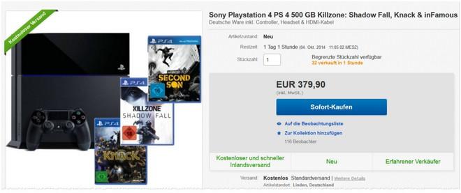PS4 Bundle 3 Spiele Konsole