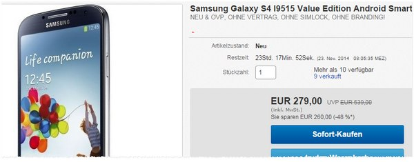Samsung Galaxy S4 in der Value Edition als eBay WOW