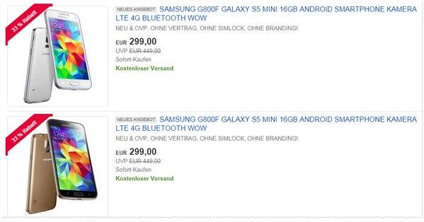 Samsung Galaxy S5 mini ohne Vertrag im Preisvergleich günstig